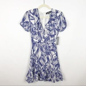 NWT Lulus Floral Blue White Ruffle Skater Dress